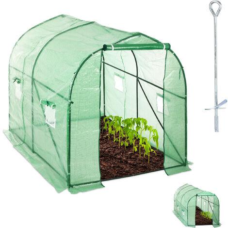 Relaxdays Walk-In Tunnel Tomato Greenhouse, Door, Balcony & Garden, Plug-In System, Grow Tent, 300x200x200cm, Green