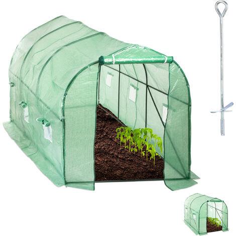 Relaxdays Walk-In Tunnel Tomato Greenhouse, Door, Balcony & Garden, Plug-In System, Grow Tent, 450x200x200cm, Green