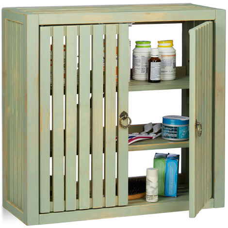 Relaxdays Wall Cabinet Vintage, Bamboo, 2 Doors, Magnet Latch, 2 Shelves, Bathroom & Kitchen, HWD 50 x 52 x 20 cm, Green
