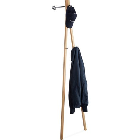 Relaxdays Wall Coat Rack, Hallway Coat Stand with Clothes Rail & 3 Hooks, HWD 181 x 48 x 37 cm, Natural/Chrome