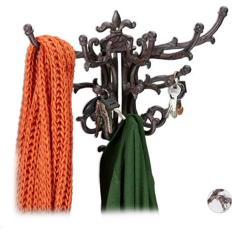 Relaxdays Wall Coat Rack, Vintage, 5 Flexible Hooks, Country House Style, HxWxD 28.5 x 35.5 x 19 cm, Different Colours