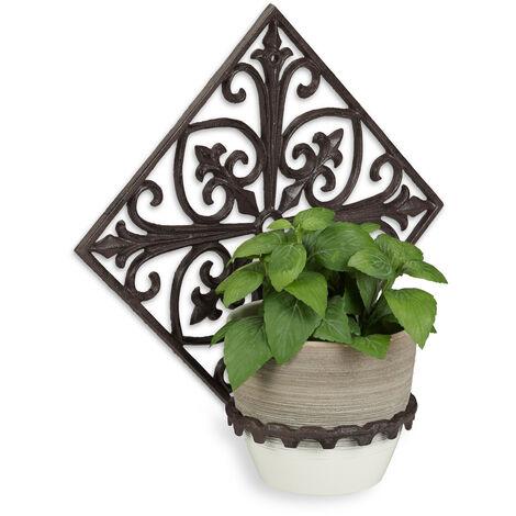 Relaxdays Wall Flower Rack, Cast Iron, Antique, Garden Plant Holder, Ø 13 cm, Decorative, Ornate, Dark Brown