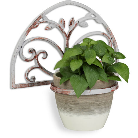 Relaxdays Wall Flower Rack, Cast Iron, Antique Shabby Look, Plant Pot Holder, Decorative, Ø 14.5 cm, White