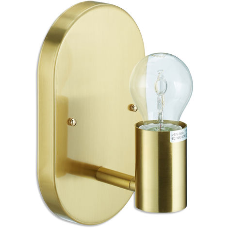Relaxdays Wall Lamp, Wall-Mount Metal Sconce, E27, 40W, Indoor Spotlight, HWD 20 x 12 x 12 cm, Gold