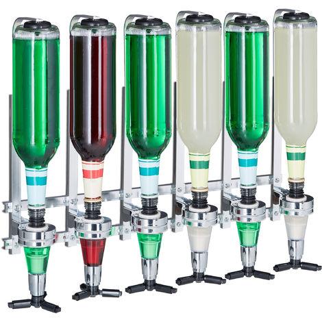 Relaxdays Wall Mount Bar Butler, 6-Bottle Dispenser Rack, Pro Shot Pourer, 3 cl, Bar Accessory, HWD: 53x36x11 cm, Silver