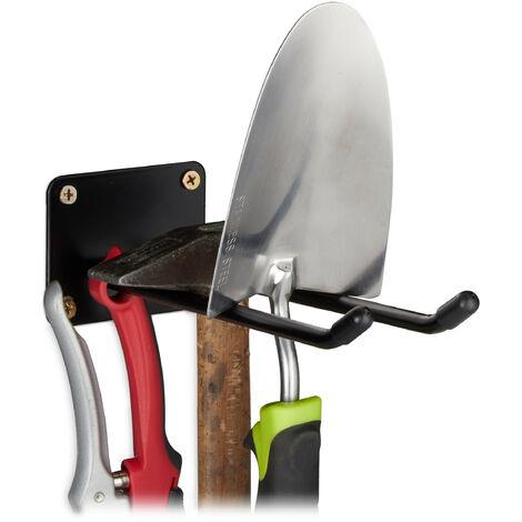 Relaxdays Wall-mounted Utility Hooks, Double Hook, Broom Holder, Spade Bracket To Mount, Wall, Steel, 24cm, Black