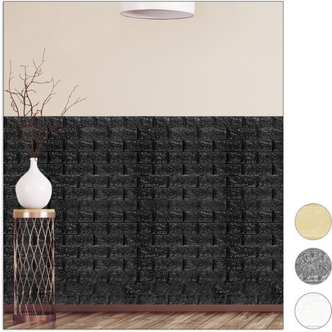 Relaxdays Wall Panels Self-adhesive, Decorative Stone Look, 3D Panel, Soft PE Foam, Set of 10, 78 x 70 cm, Black