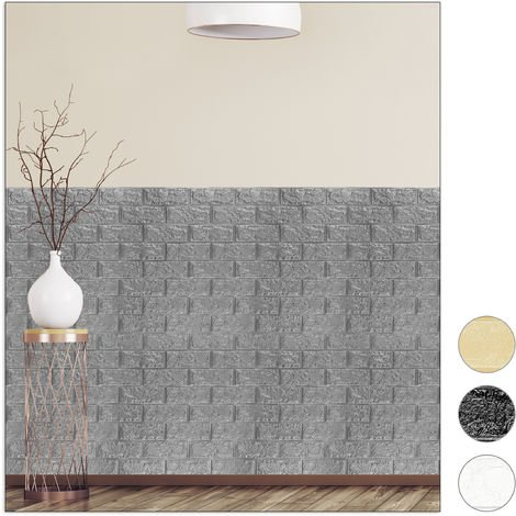 Relaxdays Wall Panels Self-adhesive, Decorative Stone Look, 3D Panel, Soft PE Foam, Set of 10, 78 x 70 cm, Grey