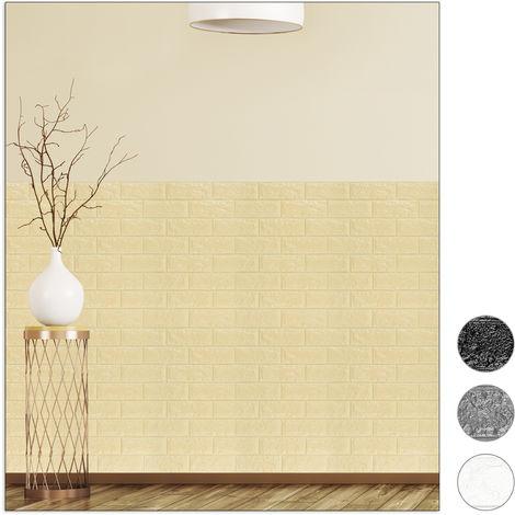 Relaxdays Wall Panels Self-adhesive, Decorative Stone Look, 3D Panel, Soft PE Foam, Set of 20, 78 x 70 cm, Sand