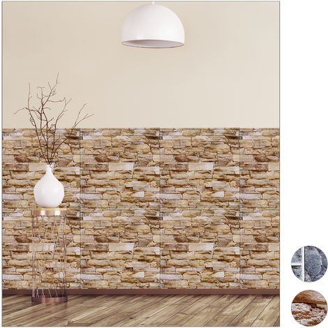 Relaxdays Wall Panels Self-adhesive, Set Of 10, Decorative Brick Wall, 3D Panelling, PVC Stone Wall, 50 x 50 cm, Brown
