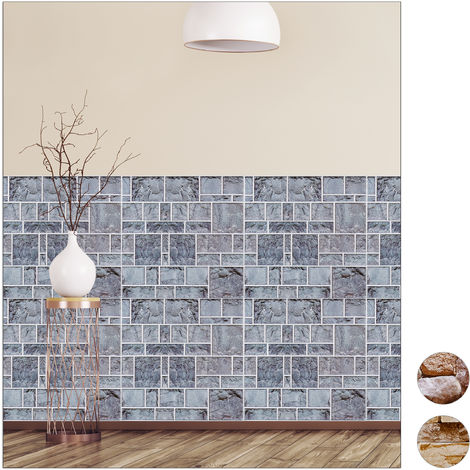 Relaxdays Wall Panels Self-adhesive, Set Of 10, Decorative Brick Wall, 3D Panelling, PVC Stone Wall, 50 x 50 cm, Gray