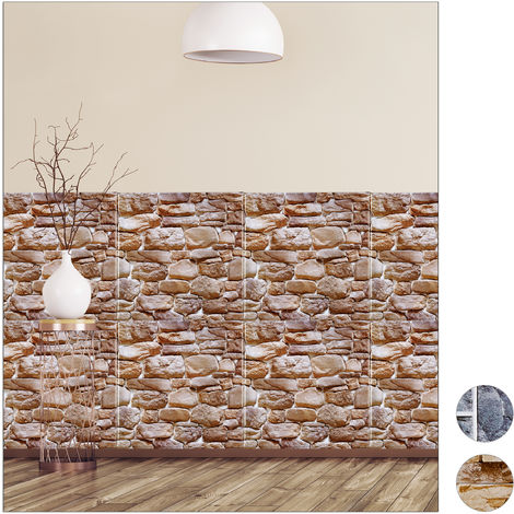 Relaxdays Wall Panels Self-adhesive, Set Of 5, Decorative Brick Wall, 3D Panelling, PVC Stone Wall, 50 x 50 cm, Brown