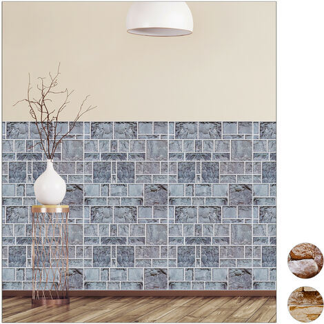 Relaxdays Wall Panels Self-adhesive, Set Of 5, Decorative Brick Wall, 3D Panelling, PVC Stone Wall, 50 x 50 cm, Grey