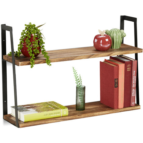 Relaxdays Wall Rack with 2 Shelves, Floating Shelf, Kitchen Organiser, Hanging, Metal, Wood, HxWxD: 40x60x15 cm, Black