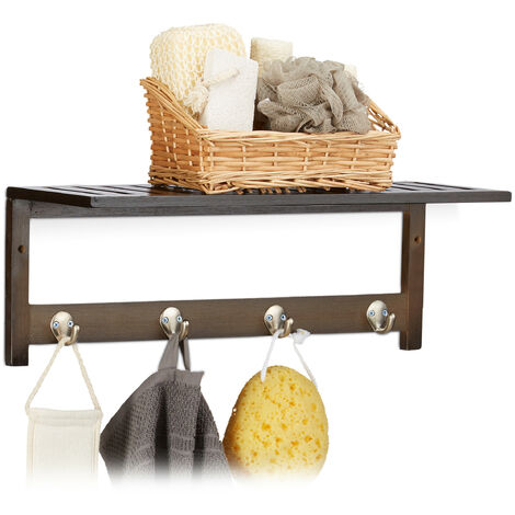 Relaxdays Wall Rack with 4 Hooks, HxWxD: 17.5 x 50 x 16 cm, Bamboo, Towel Holder, Hallway Coat Rack, Floating, Dark Brown