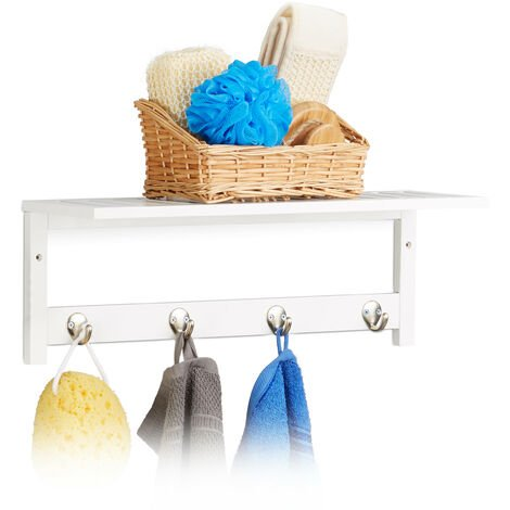 Relaxdays Wall Rack with 4 Hooks, HxWxD: 17.5 x 50 x 16 cm, Bamboo, Towel Holder, Hallway Coat Rack, Floating, White