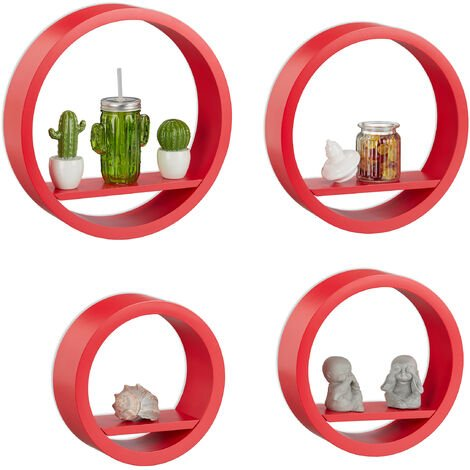 Relaxdays Wall Shelves Set of 4, Floating Decorative Shelves, MDF, 8 kg Capacity, Spice Rack, Red