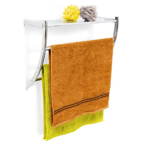 Relaxdays Wall Towel Holder Chrome, 43 x 56 x 23 cm Towel Rack for Wall-Mounting with 3 Towel Rails and a Bathroom Shelf or Small Coat Rack made of Chromed Steel, Silver