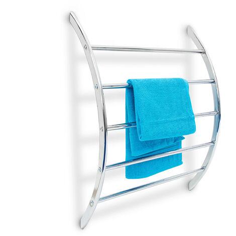 Relaxdays Wall Towel Holder Chromed Steel with 5Rails 70x 56.5x 15.5cm, Bathroom Rack for Bath & Swimwear Modern MetallicLook -Silver
