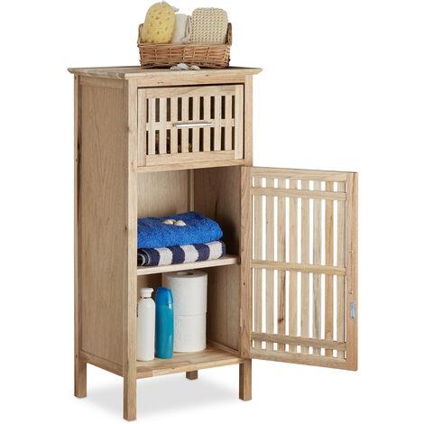 Relaxdays Walnut Bathroom Cabinet, Space-Saver, Niche Cupboard, Medium Wooden Sideboard 82 x 40 x 29 cm HxWxD, Natural