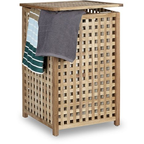 Relaxdays Walnut Laundry Hamper Wooden Laundry Storage Bin Basket with Lid, 67.5 x 45.7 x 45.7 cm, Laundry Organizer, Laundry Box Wood with Linen Sack Bag, Capacity of 75 L, Natural