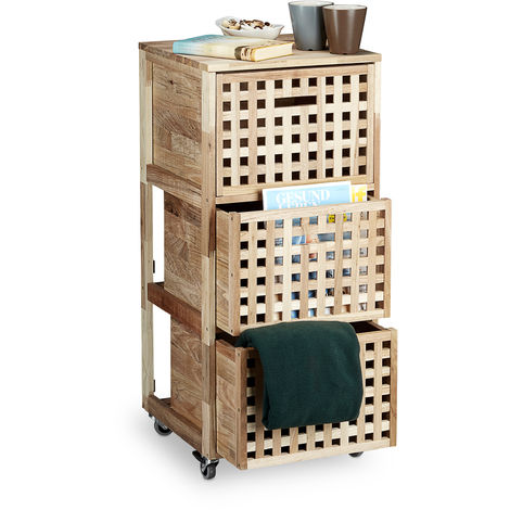 Relaxdays Walnut Rolling Cabinet Wooden File Cabinet with Wheels & 3 Compartments, 91.5 x 40.4 x 40.4 cm Utensil Storage, Laundry Box Hamper Closet, Natural