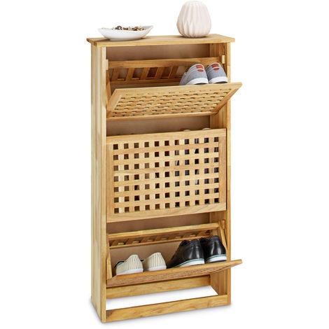 Relaxdays Walnut Shoe Cabinet, Tilting Rack HWD: app. 104.3 x 55 x 20.2 cm, Modern Chest of