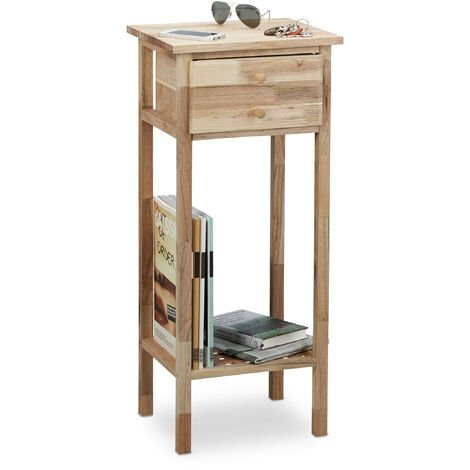 Relaxdays Walnut Side Table with Drawer, 2 Shelves, Telephone Table, Tall Wooden Table, HxWxD: 80 x 35 x 30 cm, Natural