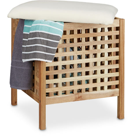 Relaxdays Walnut Storage Seat with Hamper, 52 x 49 x 49 cm, Bathroom Ottoman with Cushion and 52 L Hamper, Footstool Ottoman Seat Chair with Storage Room, of Sturdy Walnut Wood, Light Brown & White