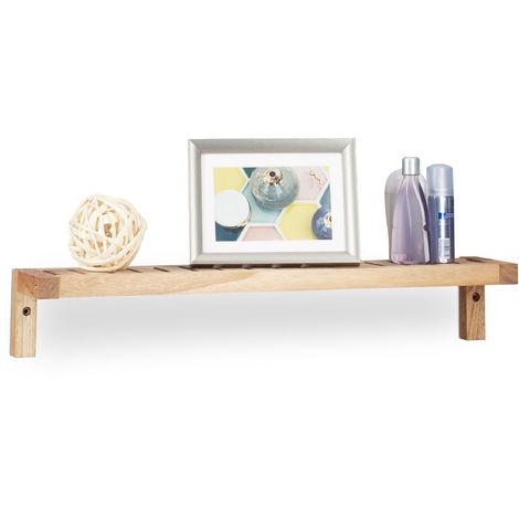 Relaxdays Walnut Wall Rack, Hanging Shelf, Wooden Shelving Unit, for Bathroom, Kitchen, Kid's Room, HxWxD: 10 x 60 x 12.5 cm, Natural