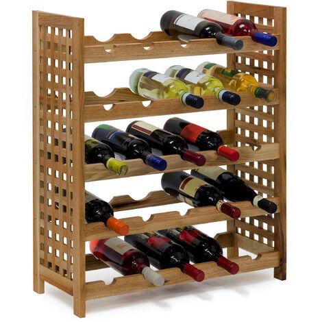 Relaxdays Walnut Wine Rack For 25 Wine Bottles: 73 x 63 x 25 cm Wooden Bottle Shelf Oiled Walnut Material 5 Shelves 5 Bottles Per Shelf, Natural