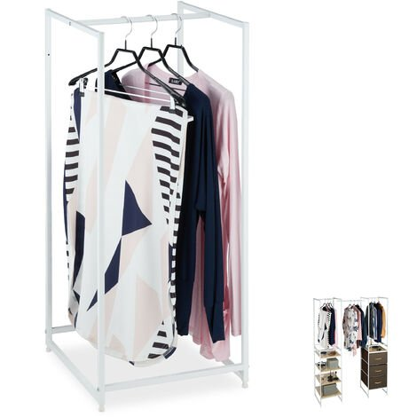 Relaxdays Wardrobe Coat Stand with Clothes Rail, Extendible, Steel, 100 x 43 x 46.5 cm, White