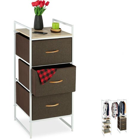 Relaxdays Wardrobe Shelving Unit, Extendible, 3 Drawers, Dresser, Steel, 100 x 43 x 46.5 cm, White/Brown