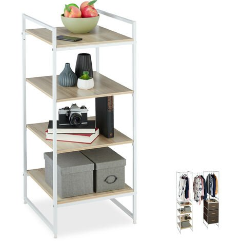 Relaxdays Wardrobe Shelving Unit, Extendible, 4 Tiers, Open Dresser, Steel, 100 x 43 x 46.5 cm, White