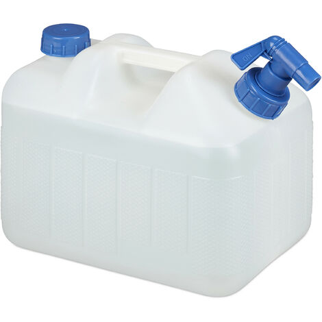 Relaxdays Water Canister, Drain Off Cock, Screw Cap, Jerrycan, BPA-Free, Camping, Car, 10 L, White