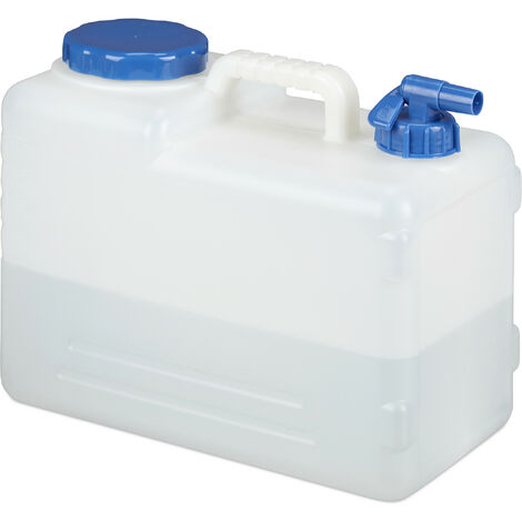 Relaxdays Water Canister, Drain Off Cock, Screw Cap, Jerrycan, BPA-Free, Camping, Car, 15 L, White