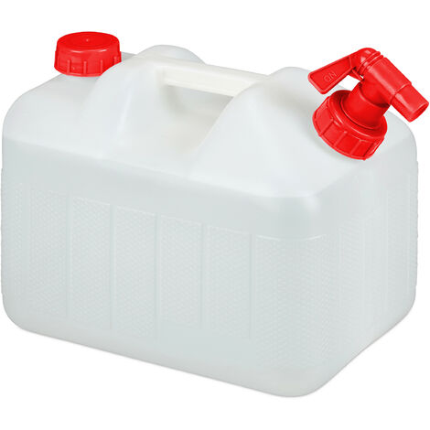 Relaxdays Water Canister with Faucet, Wide Neck Screw Cap, Camping Jerrycan, 10L, BPA-Free, White-Red