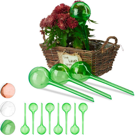"""main image of """"Relaxdays Watering Globes, Set of 12, Regulated Irrigation, 2 Weeks, Pot Plants, Plastic Sphere, Bulb, Green"""""""
