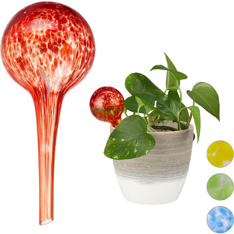 Relaxdays Watering Globes Set of 2, Regulated Irrigation for Plants & Flowers, Office & Holiday Watering Aid, Glass, Red