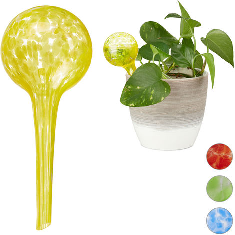 Relaxdays Watering Globes Set of 2, Regulated Irrigation for Plants, Office & Holiday Watering Aid, Glass, Yellow