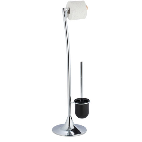 Relaxdays WC Butler with Paper Holder, Toilet Brush with Container, Standing, HxWxD 80x25x22 cm, Silver