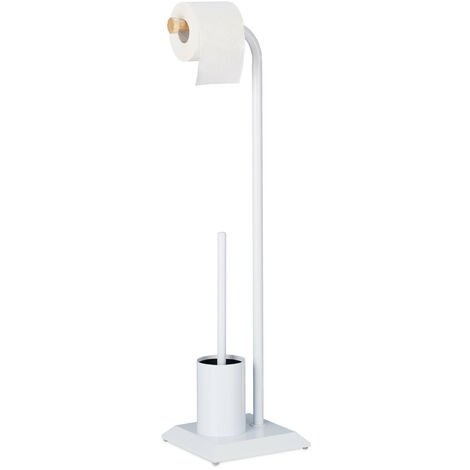 Relaxdays WC Set, Freestanding Toilet Paper Holder, Toilet Brush with Stand, HWD: 78 x 20 x 20 cm, White