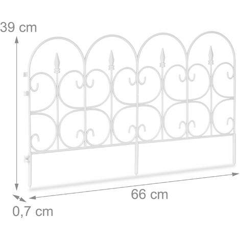Relaxdays Weatherproof Plastic Flowerbed Fence, 30 cm Tall, Ornate Lawn Enclosure with Spikes, 6-Pc Set, 4m, White