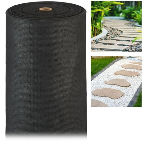 Relaxdays Weed Barrier Carpet, 150 g/m², Ground Protection Cover, Water-permeable, UV-resistant, Soil Carpet, 50 m, Black