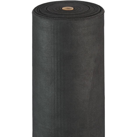 Relaxdays Weed Barrier Carpet, 50 g/m², Ground Protection Cover, Water-permeable, UV-resistant, Soil Carpet, 50 m, Black