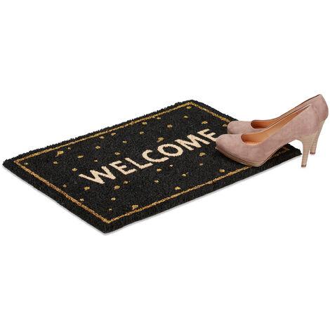Relaxdays Welcome Coir Doormat, HxWxD: 1.5 x 60 x 40 cm, Glitter, Spotted, Nonslip, Coconut Fibre, Rubber, Multicolour