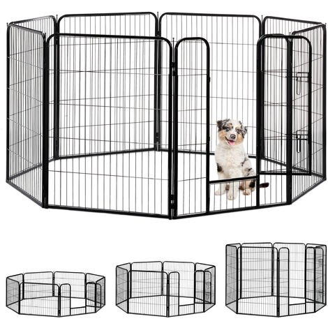 Relaxdays Whelping Pen for Small Dogs, Puppies, Pets, Sturdy Indoor Playpen, HxWxD: 100 x 76.5 x 235 cm, Black
