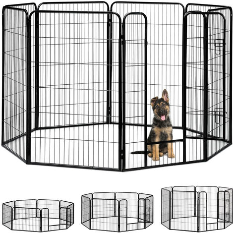 Relaxdays Whelping Pen for Small Dogs, Puppies, Pets, Sturdy Indoor Playpen, HxWxD: 120 x 76.5 x 235 cm, Black