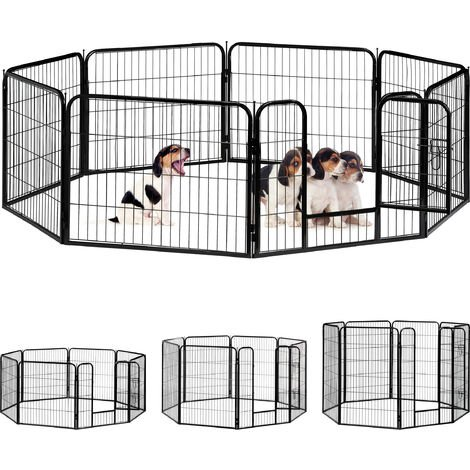 Relaxdays Whelping Pen for Small Dogs, Puppies, Pets, Sturdy Indoor Playpen, HxWxD: 60.5 x 76.5 x 235 cm, Black