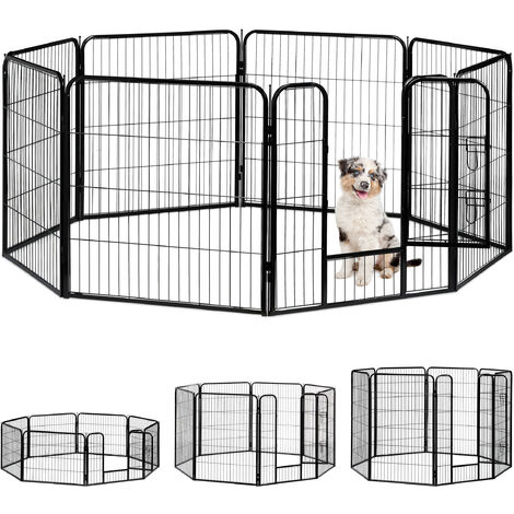 Relaxdays Whelping Pen for Small Dogs, Puppies, Pets, Sturdy Indoor Playpen, HxWxD: 80 x 78 x 235 cm, Black